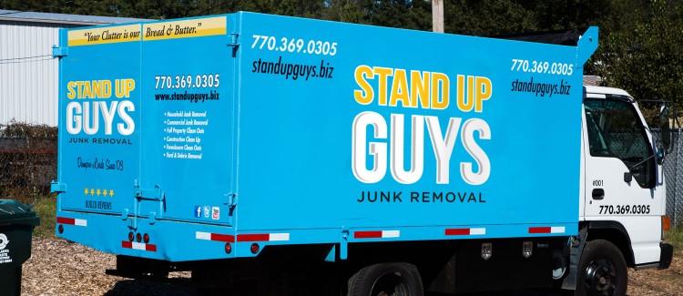 baby blue junk hauling truck