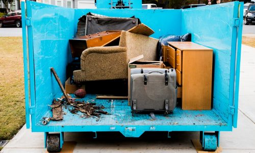 removing junk with a dumpster