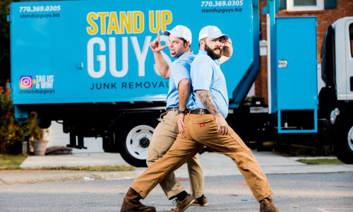 two stand up guys in front of junk removal truck in morrisville north carolina