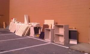 parking lot full of junk