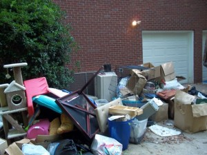 Junk pile in driveway of Buckhead home