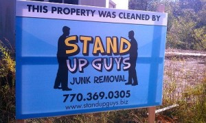junk removal sign in woodstock