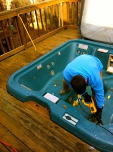 taking apart a hot tub in Atlanta