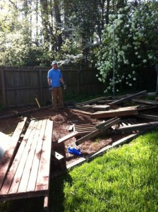 ross standing next to a torn down playset