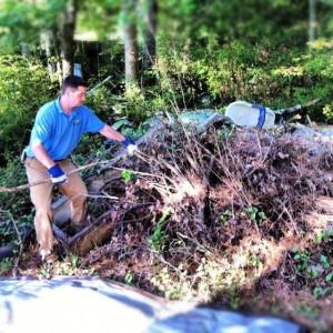 pile of brush and debris in Towne Lake, Woodstock