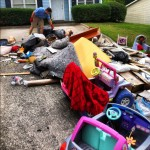 driveway covered with junk