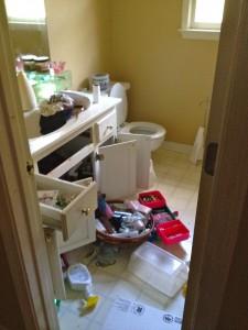 bathroom full of junk