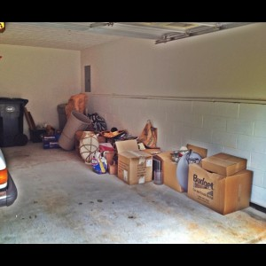 garage full of junk and debris