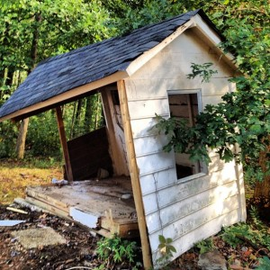 half torn down shed