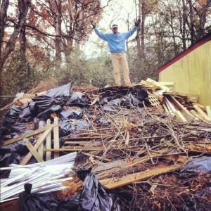 debris pile in towne lake