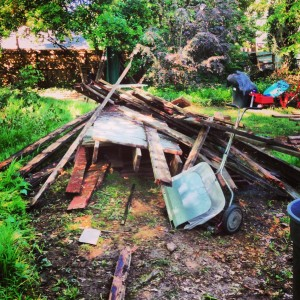 pile of junk wood